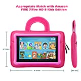 MoKo 7-8 Inch Kid Sleeve for Amazon Tablet, Portable Neoprene Case Bag Fits Fire HD 8 Kids Edition, Fire 7 Kids Edition 2019/2017, Fire HD 8, Fire 7 Tablet Kindle E-reader - Dinosaur Pink