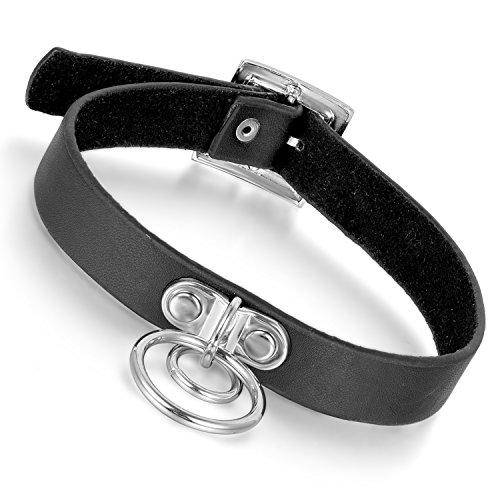 Cupimatch Damen Herren Choker, Leder schwarz einstellbar Kropfband Halskette mit Dual Kreise Design,...