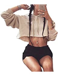 Bigood Sweat-shirt Court Femme Pull Coton Manche Longue Veste à Capuche Top Crop Casual Mode