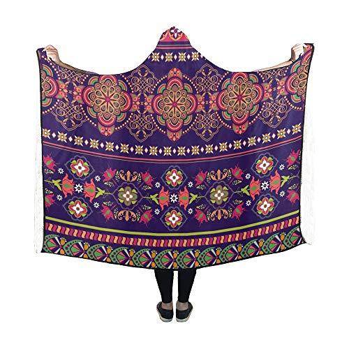 Zemivs Mit Kapuze Decke gestreifte Blumentapete Decke 60 x 50 Zoll Comfotable Hooded Throw Wrap (Indien Karte Service)