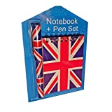 Union Jack Notebook and Matching Pen - London United Kingdom British Souvenir / Distressed Notepad and Pen Set / Blue White and Red / for School, Office or Home / Gift Idea for Children or Adults