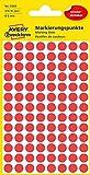 AVERY Zweckform 3589 selbstklebende Markierungspunkte (Ø 8 mm, 416 ablösbare Klebepunkte auf 4 Bogen, runde Aufkleber für Kalender, Planer und zum Basteln, Papier, matt) rot