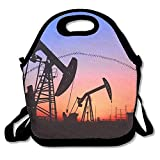 VTXWL Pumping Unit is Working in Oil Field of The Sunset Best Graphic Lunch Tote Lunch Bag School Reusable