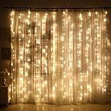 Lichterkettenvorhang 240 LEDs, 8 Modi 3m x 2m IP44 wasserdichte Sterne LED Lichterkett, Weihnachtsbeleuchtung/Schlafzimmer Dekoration/Party, Hochzeit Indoor Outdoor Garten (Gelb)
