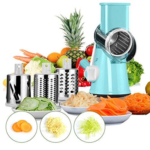 Mandolines Baban Trancheuse à Légumes Multifonction, Coupe-frites, Coupeur Légume 3 Lames Cylindriques en acier Inoxydable pour Meuler, Meilleur pour Carottes, Oignon, Tomate etc Bleu