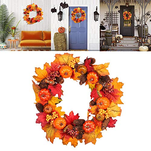 Gereton Christmas Wreath Dekoration Kürbis Berry Harvest Silk Herbst Haustür Kranz, Herbst Blätter Kranz Farben Verbessern Home Decor, Kranz Tür Wand Ornament Thanksgiving Day