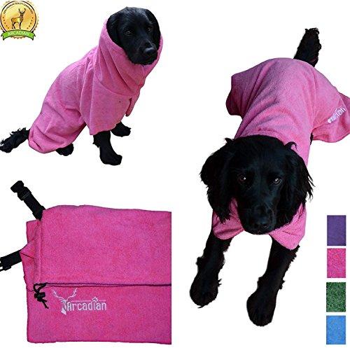 Arcadian - Accappatoio in microfibra per cani blu e rosa Accappatoio lussuoso, ottimo regalo per il tuo animale. Realizzato in microfibra leggera e di qualità, ad asciugatura rapida e super assorbente. Gli accappatoi Arcadian sono facili da usare, confortevoli e dotati di cinture regolabili. Misure: S, M, L, XL e XXL. - -, Pink, M
