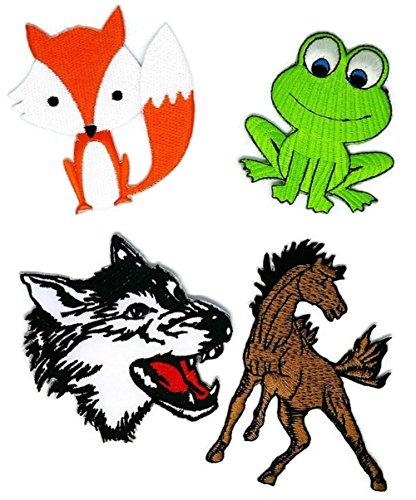 Fox Wolf Cartoon bestickt Nähen Eisen auf Patch Cartoon Nähen Eisen auf bestickte Applikation Craft handgefertigt Baby Kid Girl Frauen Tücher DIY Kostüm Zubehör ()