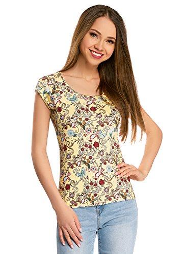 oodji Collection Donna T-Shirt in Tessuto Strutturato con Maniche Raglan Giallo (5045F)