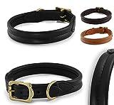 Pear - Tannery Hundehalsband aus weichem Rindsleder, mittig Abgenäht, XS 36-41 cm, schwarz