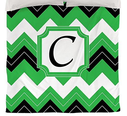 Manuelle holzverarbeiter & Weavers Bettbezug-, Monogramm Buchstabe C, schwarz Chevron (Tabelle Chevron)
