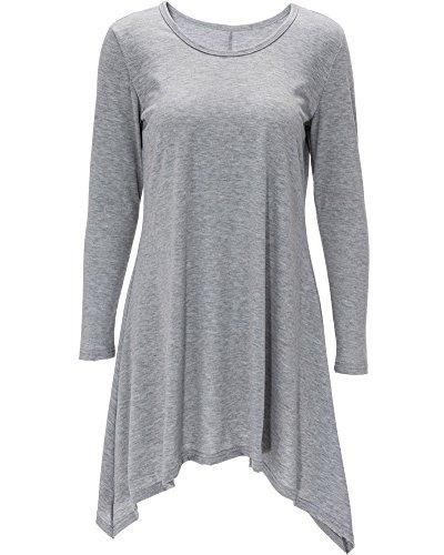 Robe Femme Longue Asymétrique Manches Longues Casual Top Tunique Gris