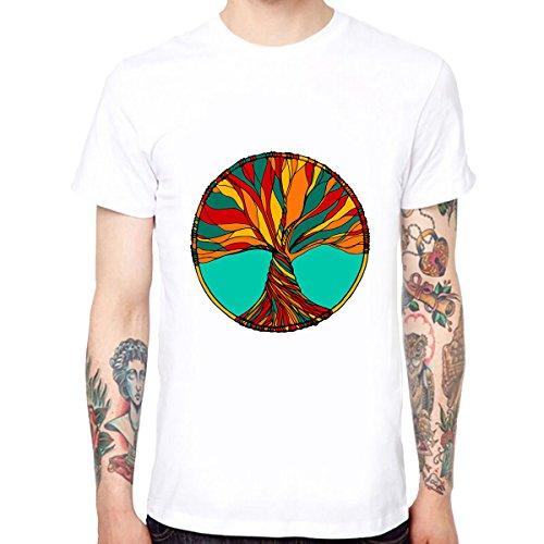 Yingyan Abstrakte Baum Männer Baumwolle Weiche Lustige Coole T-Shirts Kurzarm Tops T Größe XL (T-shirt Weichen Baum)
