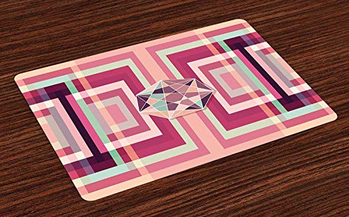 xcvzcxvzxcb Geometric Place Mats Abstract Artistic Style Colorful Geometrical Design Background Pattern Washable Fabric Placemats for Dining Room Kitchen Table Decor Coral and Mint Green 23.6 x 15.7 (Mint Green Room Decor)