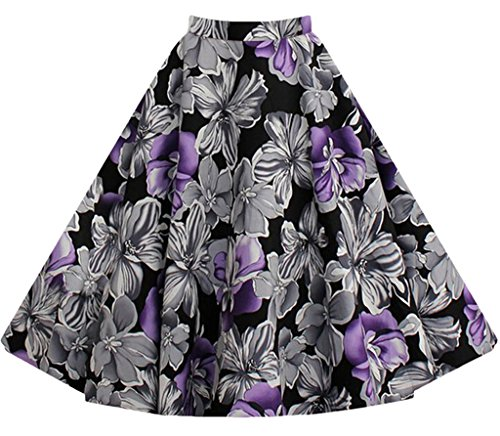 XMY Women ladies Pleated Vintage Skirts Floral Print Flower Midi Skirt dress Kleid 21 Color (Midi Skirt Floral Pleated)