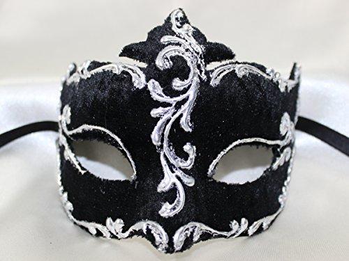 Damen schwarzen Silber Samt Colombina Half Face venezianische Masquerade Maske mit exquisiter Gold Trim