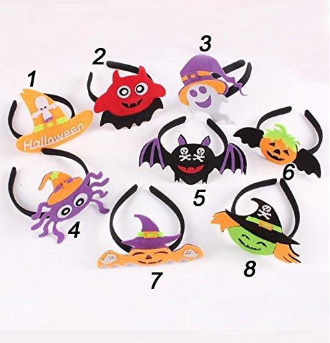 rnband Hexe Kürbis Elf Skull Bat Headwear für Halloween Party Cosplay Kostüm Baby Kinder Kleinkinder Frauen, Packung mit 8 (Elf Halloween Kostüm Kleinkind)