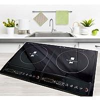 Plaque de cuisson à induction multifonctionnelle - 2200 W - Avec minuterie - 10 réglages de chaleur - Panneau de commande avec affichage LED Duo