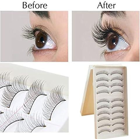 Edealing 10Pairs Makeup Handgemachte natürliche schwarze lange falsche