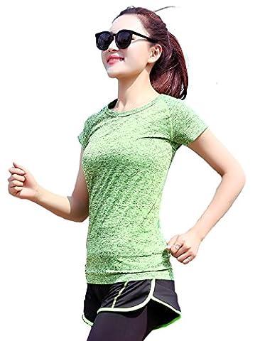 ALAIX femme Été Séchage rapide Outdoors Sports Yoga Fitness wear transpirable perspira T-Shirt vert-M