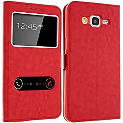 Gemtoo® Etui Coque Housse avec FENETRES pour Samsung Galaxy Grand Prime - Plusieurs Couleurs Disponibles (Galaxy Grand Prime) (Rouge)