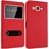 Case SAMSUNG Grand Prime Gemtoo® , Funda con Ventanas para SAMSUNG GALAXY Grand Prime, Varios colores disponibles - Rojo