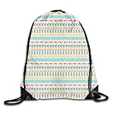 Drawstring Backpack Gym Bags Storage Backpack, Ethnic Cultural Striped Boho Motif Traditional Southwestern First Nations Artisan Design,Deluxe Bundle Backpack Outdoor Sports Portable Daypack