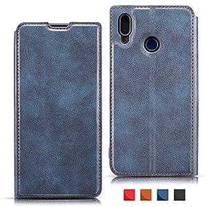 EATCYE Hülle für Galaxy A40,Handyhülle für Samsung Galaxy A40, Ultra Dünn Brieftasche PU Leder Flip Case Magnetverschluss Handytasche Klapphülle (Blau)