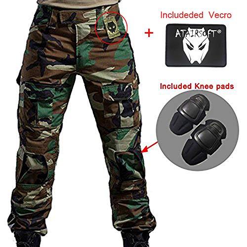 WorldShopping4U Männer Schießen BDU Kampf Pants Hosen mit Knieschützer WaldlandCamo für Taktisch Armee Militär Airsoft (WL, L) -
