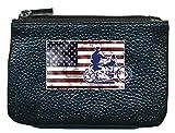 Syl'la Moto Harley - Pequeño portamonedas de Piel con Llavero, Color Negro