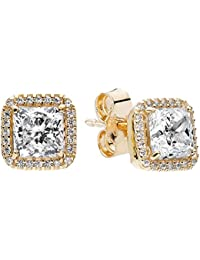 Pandora Women Yellow Gold Stud Earrings - 250327CZ