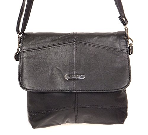 Lorenz kleine Tasche aus schwarzem, weichem Nappaleder mit Taschenschlag (Piel Schwarz Tasche)