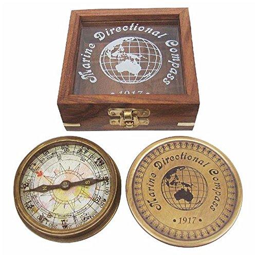 Kompass aus Antik-Messing in edler Holzbox mit Glasdeckel - Messing-antik-fan
