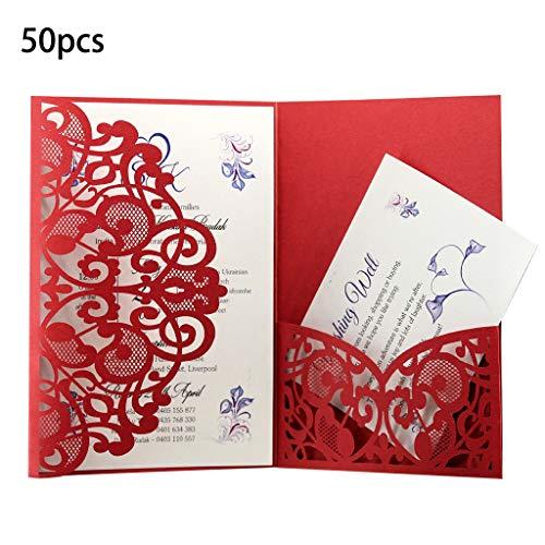 Lazder 50 Hochzeitseinladungskarten mit Jute-Schnur für Hochzeiten, Babypartys, Geburtstagspartys 5