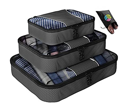 Packing Cubes - 4 pc Value Set Luggage Organizer + Bonus Shoe Bag Included - Lifetime Guarantee - By Bingonia Travel Accessories- Pinknizer - Bonus Shoe Bag Included - Lifetime Guarantee - By Bingonia - Grey