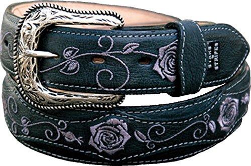 In pelle Western cintura donna Stars & Stripes Nero Ricamato WG Flash 205 nero Pollice (101 cm)