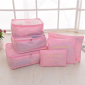 Toyfun Emballage Organiseur de voyage Sacs d'emballage léger étanche à chaussures à linge Grande Medium Petite Compression Pochettes Lot de 6
