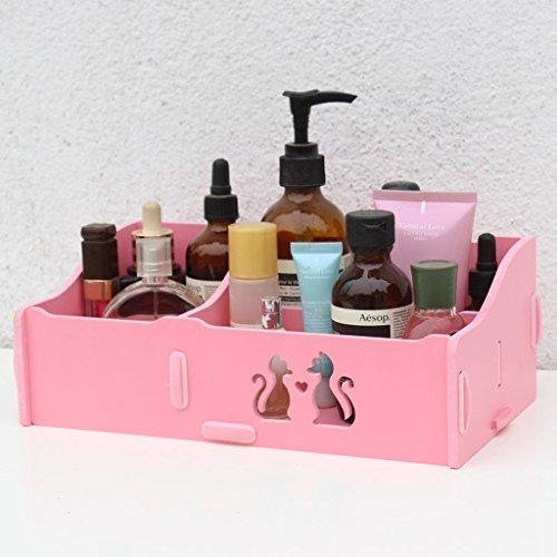 MMM Creative Desktop / Vanity savon cosmétique Boîte de rangement en plastique Boîte à bijoux Boîte à bijoux ( Couleur : Rose )
