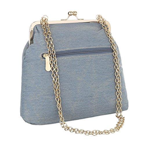 iTal-dEsiGn Damentasche Kleine Schultertasche Tragetasche Textil TA-E812 Hellblau