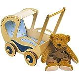 """Puppenwagen """"Dolly"""" aus lackiertem Holz mit farbigen Applikationen, formschönes Design im Old-Fashion-Style, mit Gummireifen für leise Laufgeräusche, ein schmucker Wagen für alle Puppenmuttis ab 3 Jahren"""