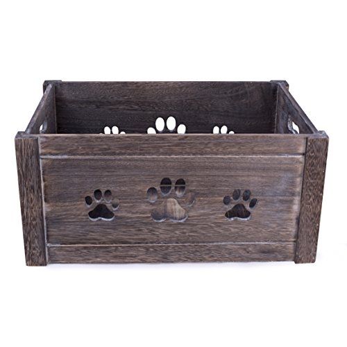 BASIC HOUSE Paw Shaped Cutout Dog Toys Chest Gift Hampers Storage Collection Box Wooden Crates Gift Hampers (Large)