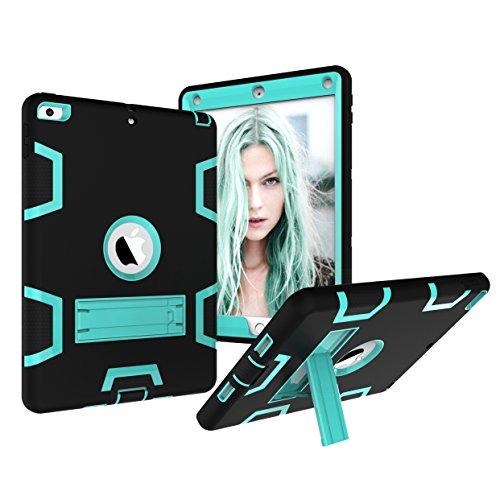 iPad 9,7Fall 2018/2017, dooge Drei Schichten PC & Silikon Armor Defender Heavy Duty Dämpfung Robuste Hybrid Full Body Schutzhülle mit Kickstand für Apple iPad 24,6cm 2017/2018Release, Black+Aqua -