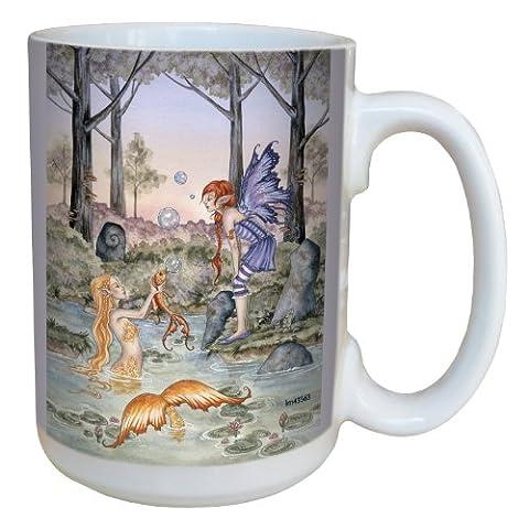 Tree-Free Greetings lm43563 15 oz Fantasy the Wishing Fish Mermaid and Fairy Ceramic Mug with Full Sized