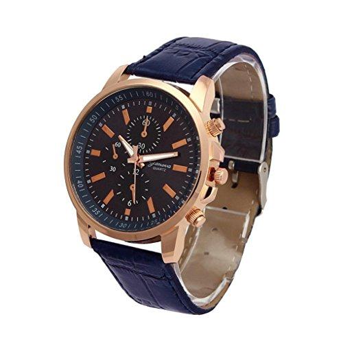 Fasching Karneval Uhren Dellin Unisex Casual Genf Kunstleder Quarz Analog Armbanduhr (Blau)
