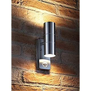Auraglow PIR Motion Sensor Stainless Steel Up & Down Outdoor Wall Security Light - Warm White