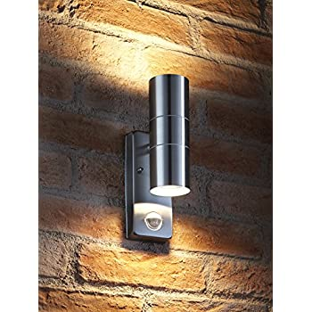 Auraglow pir motion sensor stainless steel up down outdoor wall auraglow pir motion sensor stainless steel up down outdoor wall security light warm white aloadofball Gallery