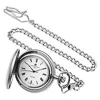 Charles-Hubert- Paris Brass Satin-Finish Quartz Hunter Case Pocket Watch #3611