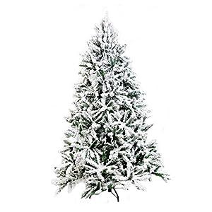 Shatchi 7015-SNOW-TREE-7FT - Árbol de Navidad artificial (pino de Alaska, 210 cm), color verde