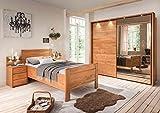 lifestyle4living Schlafzimmer, Schlafzimmerset, Schlafzimmermöbel, komplett, Komplettset, Schlafzimmereinrichtung, Schwebetüren, Erle, Teilmassiv, Spiegel