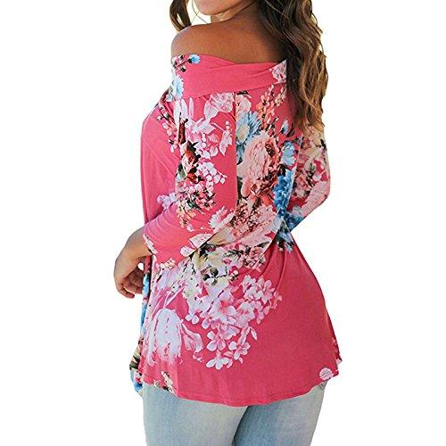 Femme Un collier de mot Manches Longues Imprimé Floral Mode Épaules Dénudées Irreguliere Lâche Blouse Haut T-Shirt Chemise Débardeurs Tops Red Rose